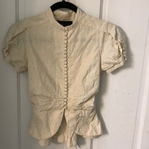 Short puff sleeve button down brocade cream top
